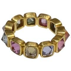 Sapphire Cushion Reverse Set Eternity Ring in 22 Karat Gold, A2 by Arunashi
