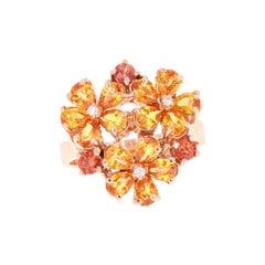 Sapphire Diamond 14 Karat Rose Gold Flower Cocktail Ring