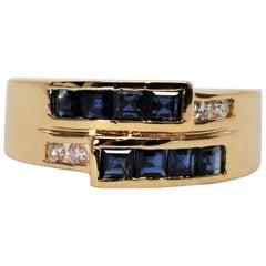 Sapphire Diamond 14 Karat Yellow Gold Band Ring