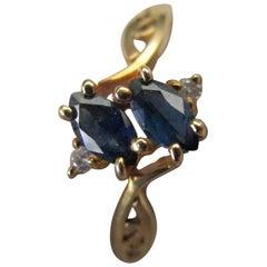 Sapphire Diamond 14 Karat Yellow Gold Ring