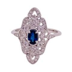 Sapphire & Diamond 14k White Gold Filigree .50 Carat Diamond Art Deco Style Ring