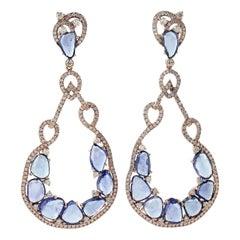 Sapphire Diamond 18 Karat Gold Earrings
