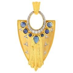Sapphire Diamond 18 Karat Gold Warrior Pendant Necklace