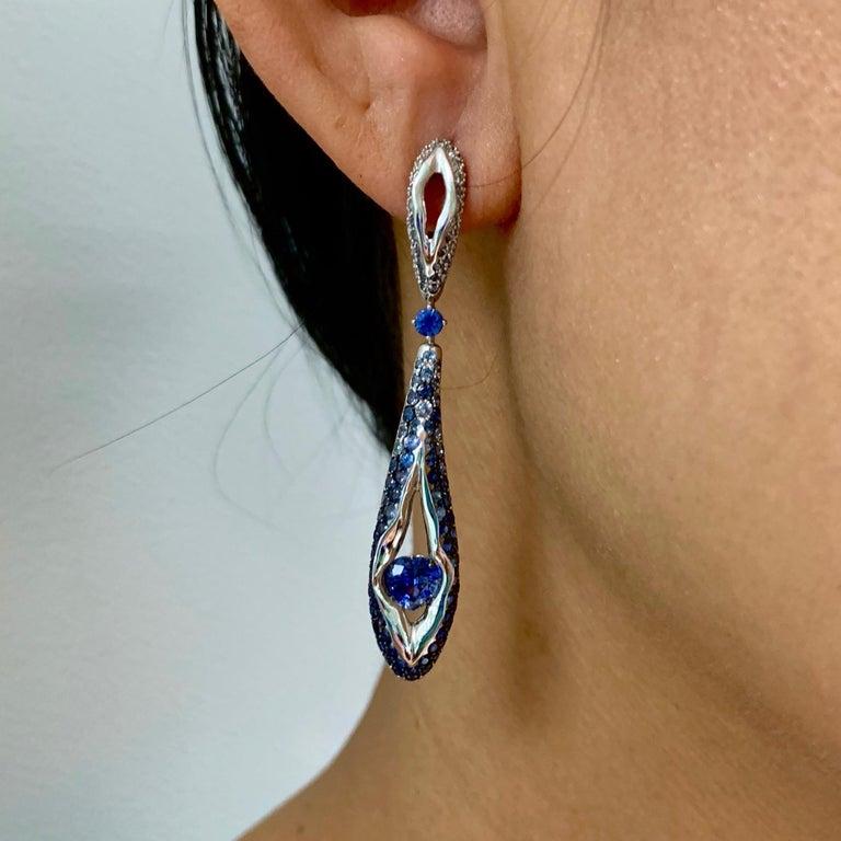 Sapphire Diamond 18 Karat White Gold Heartbeat Earrings For Sale 2