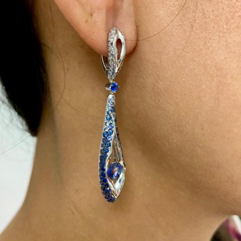 Sapphire Diamond 18 Karat White Gold Heartbeat Earrings For Sale 3