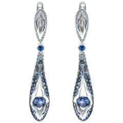 Sapphire Diamond 18 Karat White Gold Heartbeat Earrings