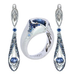 Sapphire Diamond 18 Karat White Gold HeartBeat Ring Earrings Suite