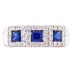 Sapphire Diamond 18 Karat White Gold Wedding Anniversary Band Ring