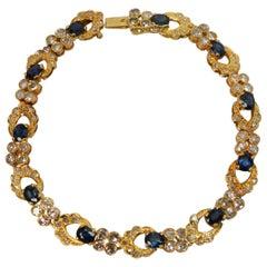 Sapphire Diamond 18 Karat Yellow Gold Bracelet