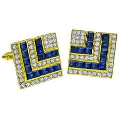 Sapphire Diamond 18 Karat Yellow Gold Cufflinks