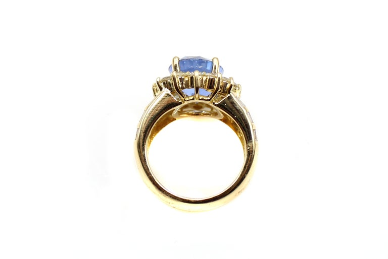 Oval Cut Sapphire Diamond 18 Karat Yellow Gold Ring For Sale