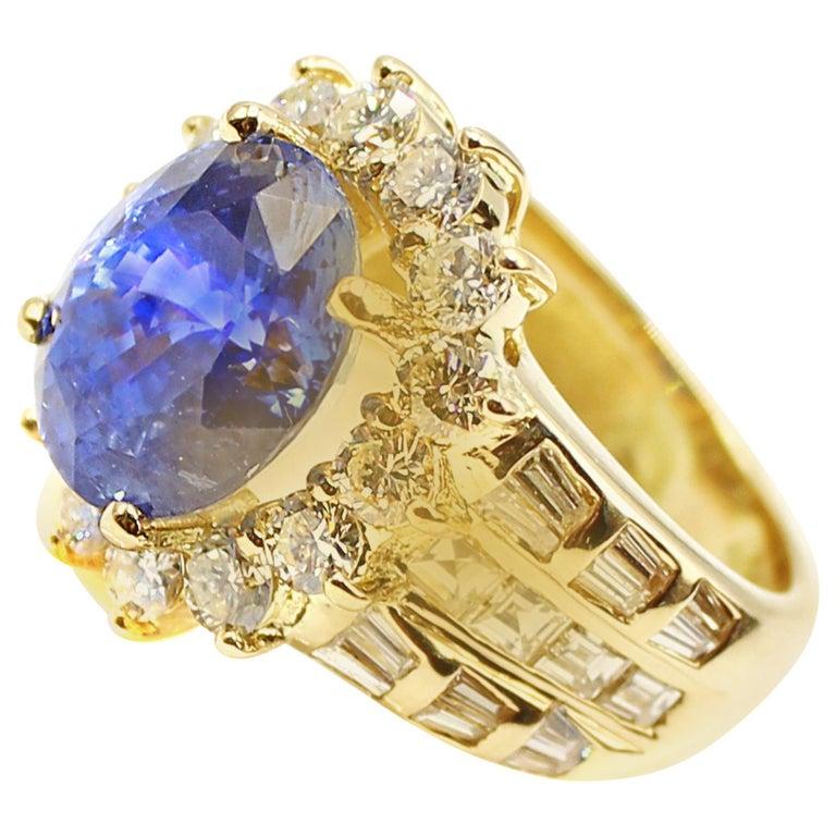 Sapphire Diamond 18 Karat Yellow Gold Ring For Sale