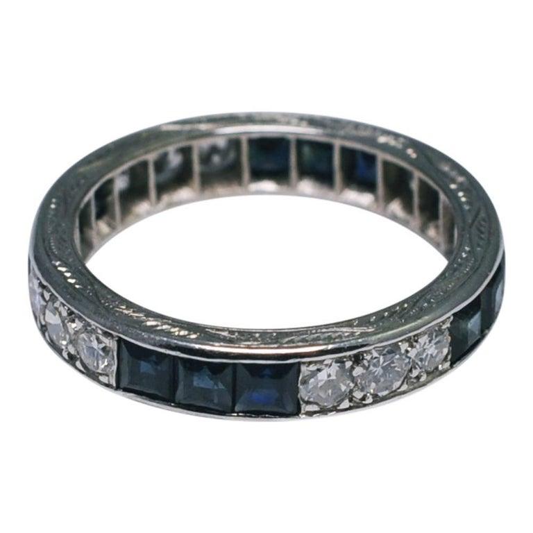 Sapphire Diamond 18 Carat Gold 1930s Eternity Ring