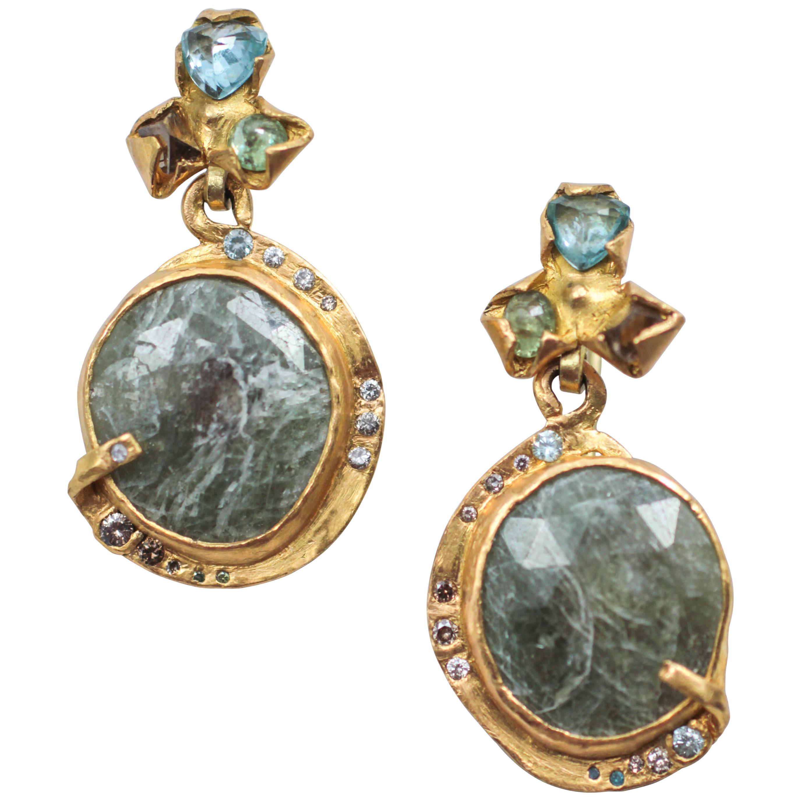 Sapphire Diamond 22-21 Karat Gold Dangle Drop Organic Earrings