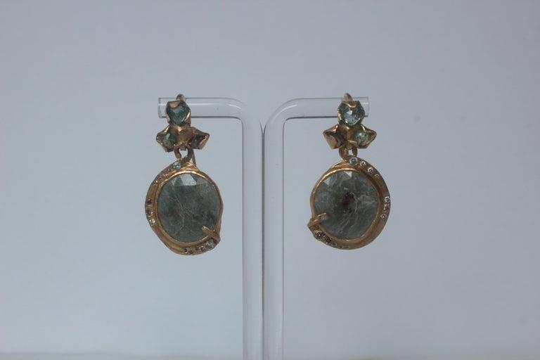 Oval Cut Sapphire Diamond 22K- 21K Gold Dangle Drop Organic Earrings  For Sale