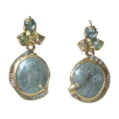 Sapphire Diamond 22 Karat - 21 Karat Gold Dangle Drop Organic Earrings