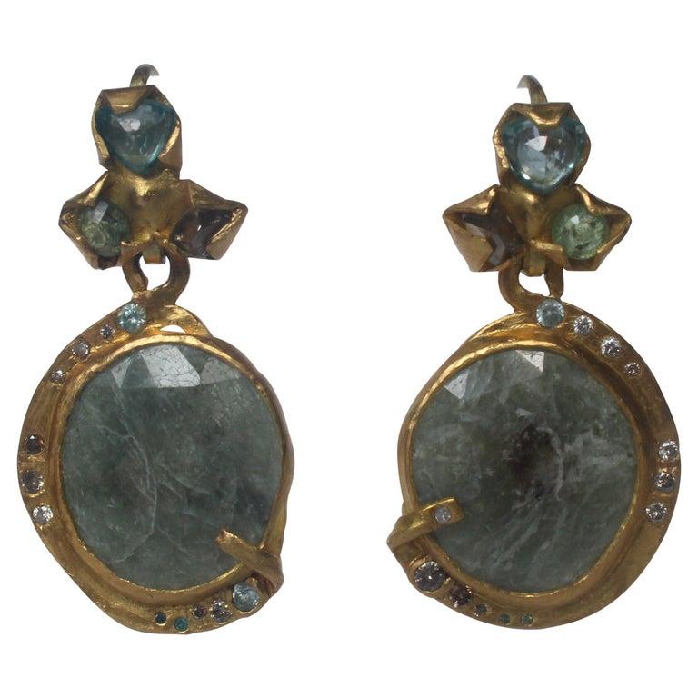 Sapphire Diamond 22K- 21K Gold Dangle Drop Organic Earrings  For Sale