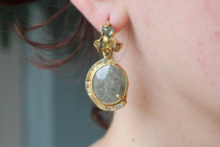 Sapphire Diamond 22K- 21K Gold Dangle Drop Organic Earrings  For Sale 8