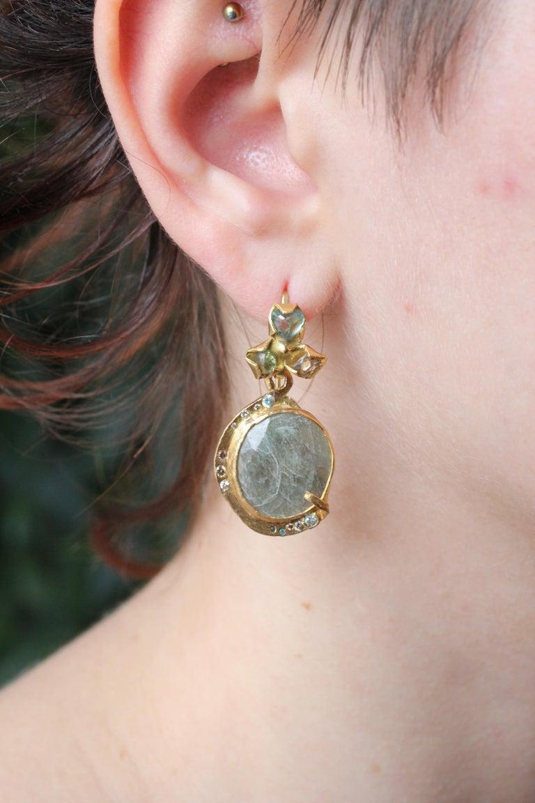 Sapphire Diamond 22K- 21K Gold Dangle Drop Organic Earrings  For Sale 10