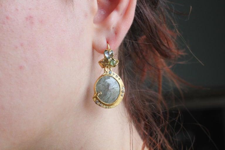 Sapphire Diamond 22K- 21K Gold Dangle Drop Organic Earrings  For Sale 11