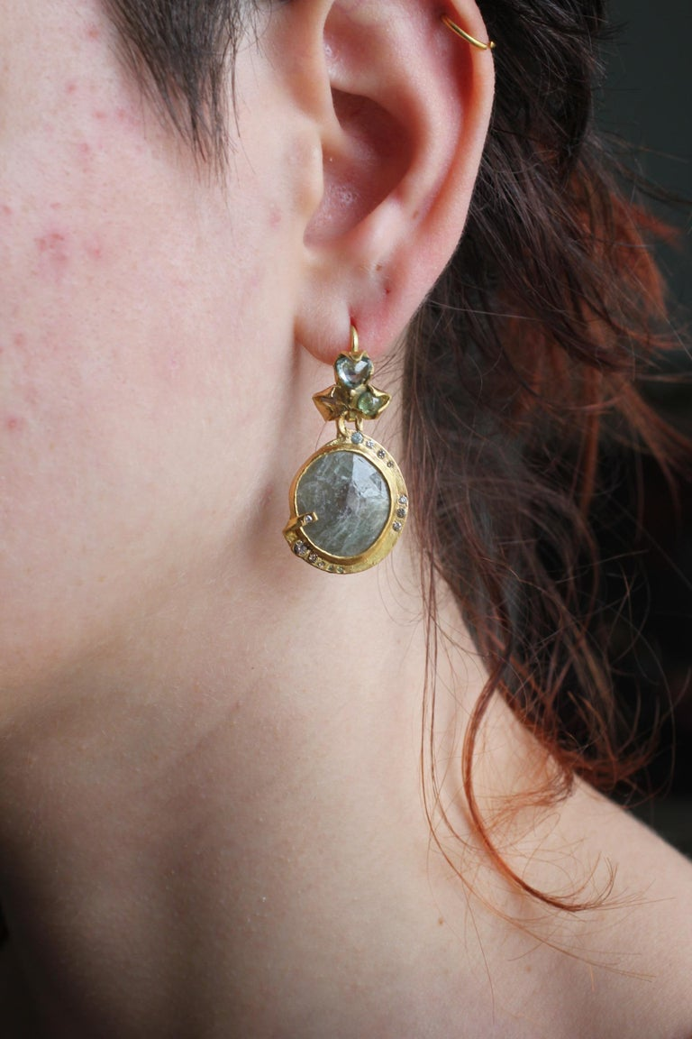 Sapphire Diamond 22K- 21K Gold Dangle Drop Organic Earrings  For Sale 12