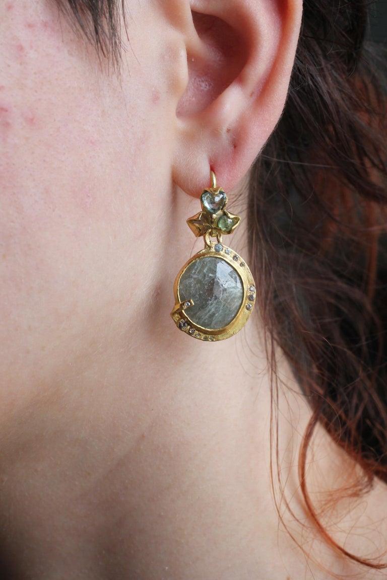 Sapphire Diamond 22K- 21K Gold Dangle Drop Organic Earrings  For Sale 13