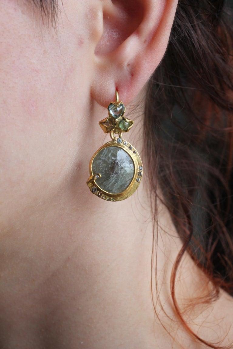 Sapphire Diamond 22K- 21K Gold Dangle Drop Organic Earrings  For Sale 14