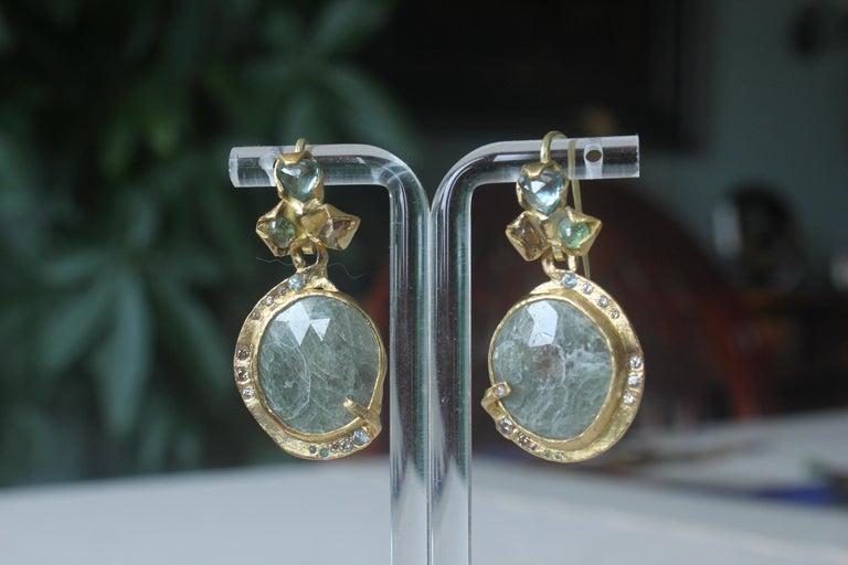 Women's Sapphire Diamond 22K- 21K Gold Dangle Drop Organic Earrings  For Sale