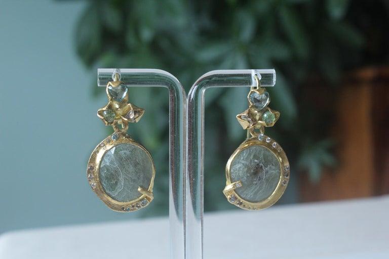 Sapphire Diamond 22K- 21K Gold Dangle Drop Organic Earrings  For Sale 1