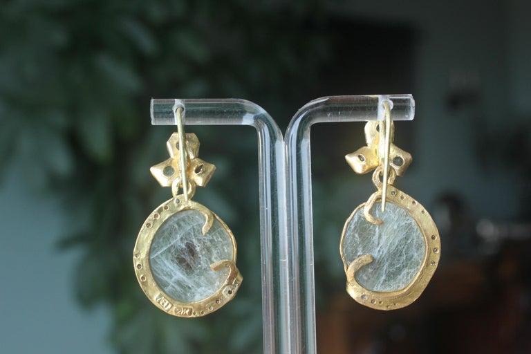 Sapphire Diamond 22K- 21K Gold Dangle Drop Organic Earrings  For Sale 2