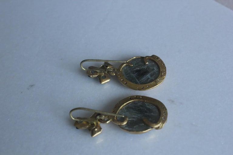 Sapphire Diamond 22K- 21K Gold Dangle Drop Organic Earrings  For Sale 3
