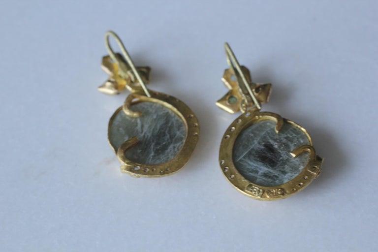 Sapphire Diamond 22K- 21K Gold Dangle Drop Organic Earrings  For Sale 4