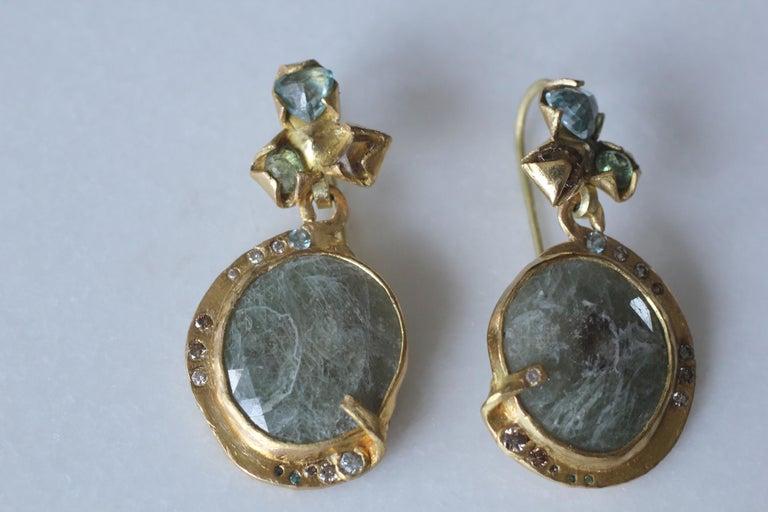 Sapphire Diamond 22K- 21K Gold Dangle Drop Organic Earrings  For Sale 6