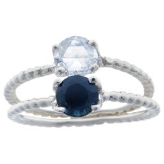 Sapphire Diamond 9 Karat White Gold Stacking Rings Handcrafted in Italy