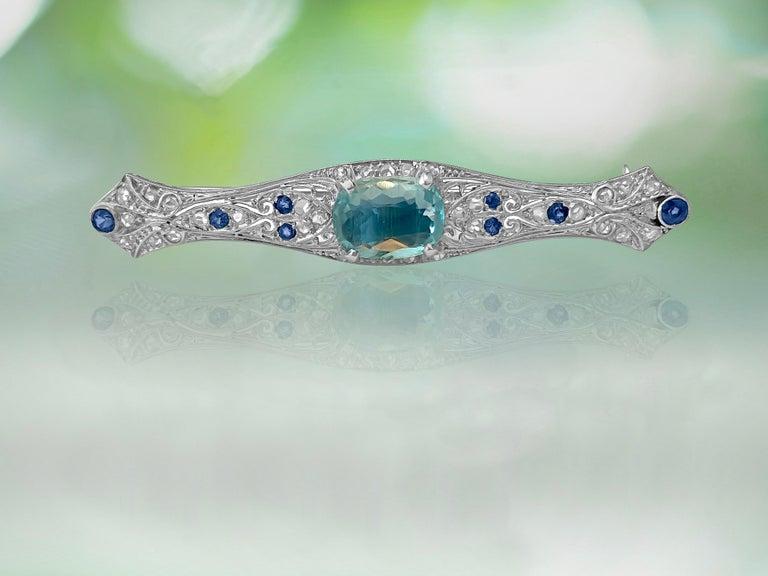 Women's Sapphire Diamond and Aquamarine Art Deco Style Pin For Sale