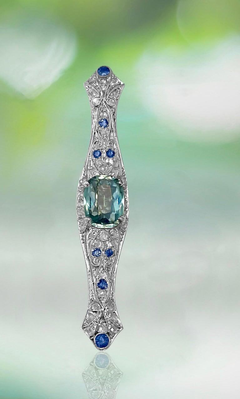 Sapphire Diamond and Aquamarine Art Deco Style Pin For Sale 1