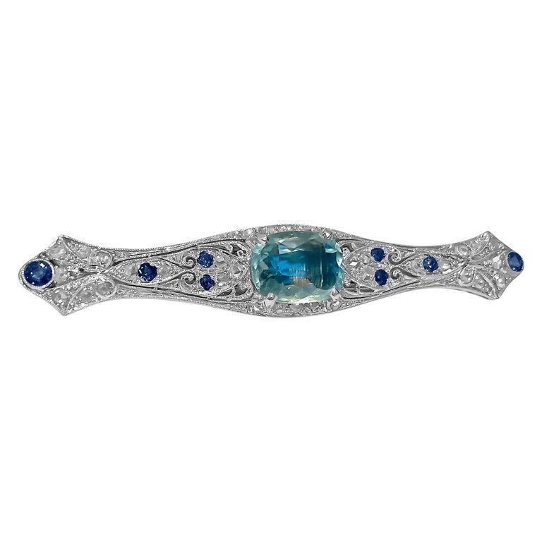 Sapphire Diamond and Aquamarine Art Deco Style Pin For Sale