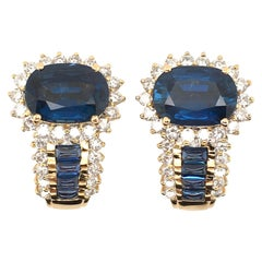 Sapphire Diamond and Gold Earrings