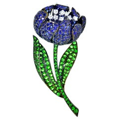 Sapphire, Diamond and Green Tsavorite 18 Karat Large Flower Brooch