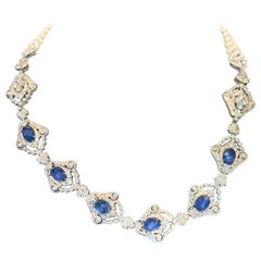 Sapphire, Diamond and Pearl Necklace