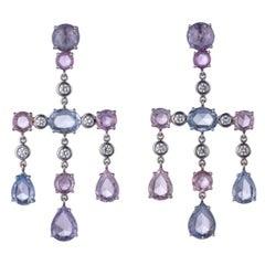 Sapphire, Diamond and Platinum Chandelier Ear Pendants