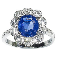 Sapphire Diamond and Platinum Cluster Ring, circa 1930