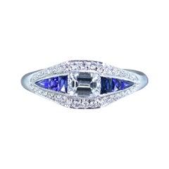 Sapphire, Diamond and Platinum Contemporary Ring