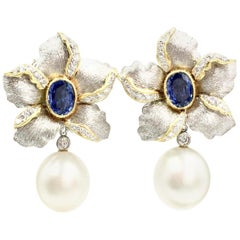 Sapphire, Diamond and South Sea Pearl 18 Karat Floral Earrings