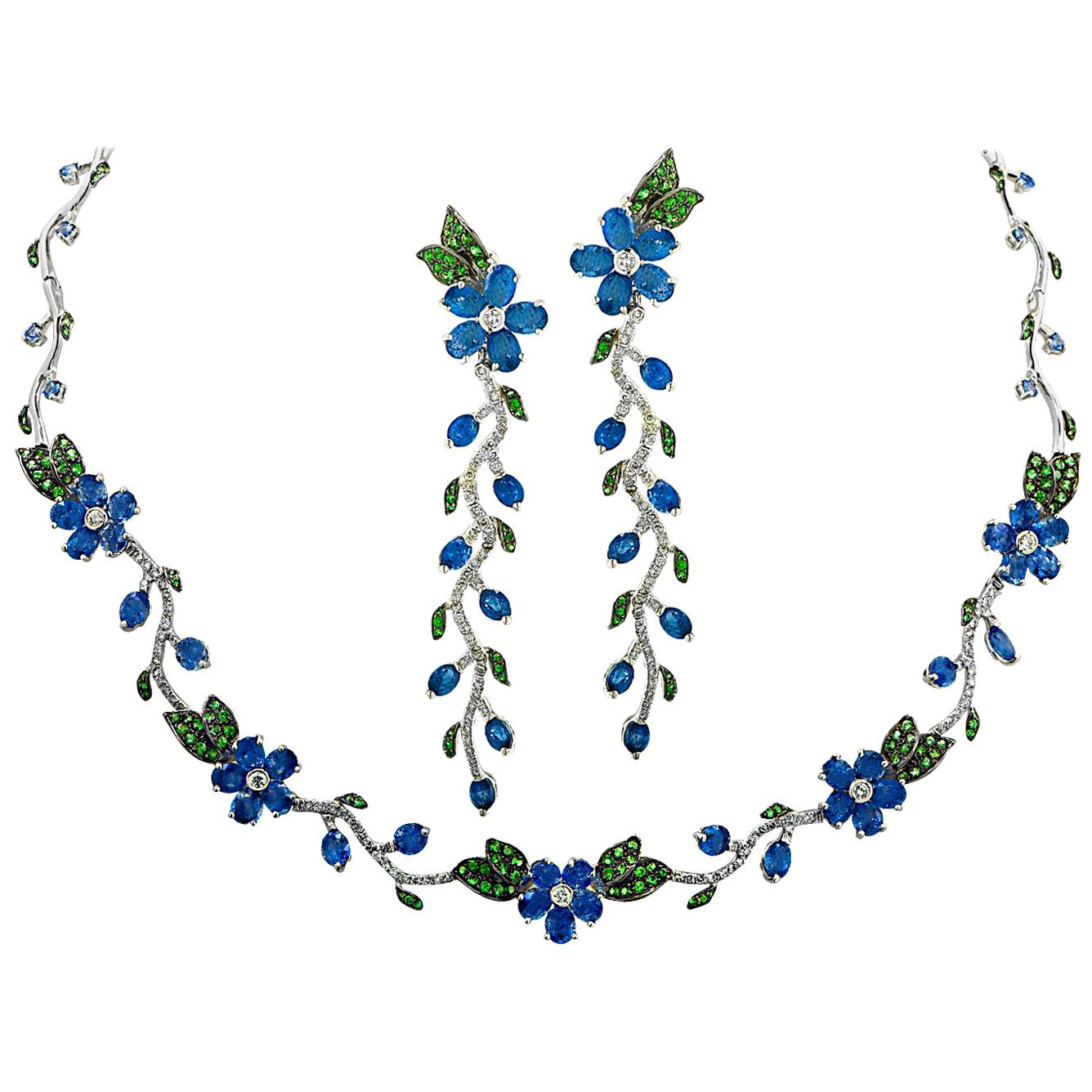 Sapphire, Diamond and Tsavorite Flower Necklace and Earring Set