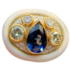 Sapphire Diamond and White Enamel Ring by Andrew Clunn