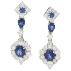 Sapphire and Diamond Drop Earrings Set in 18k White Gold