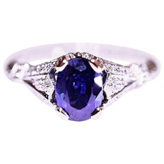 Sapphire Diamond Antique Design Engagement or Right Hand Ring Filigree Engraving