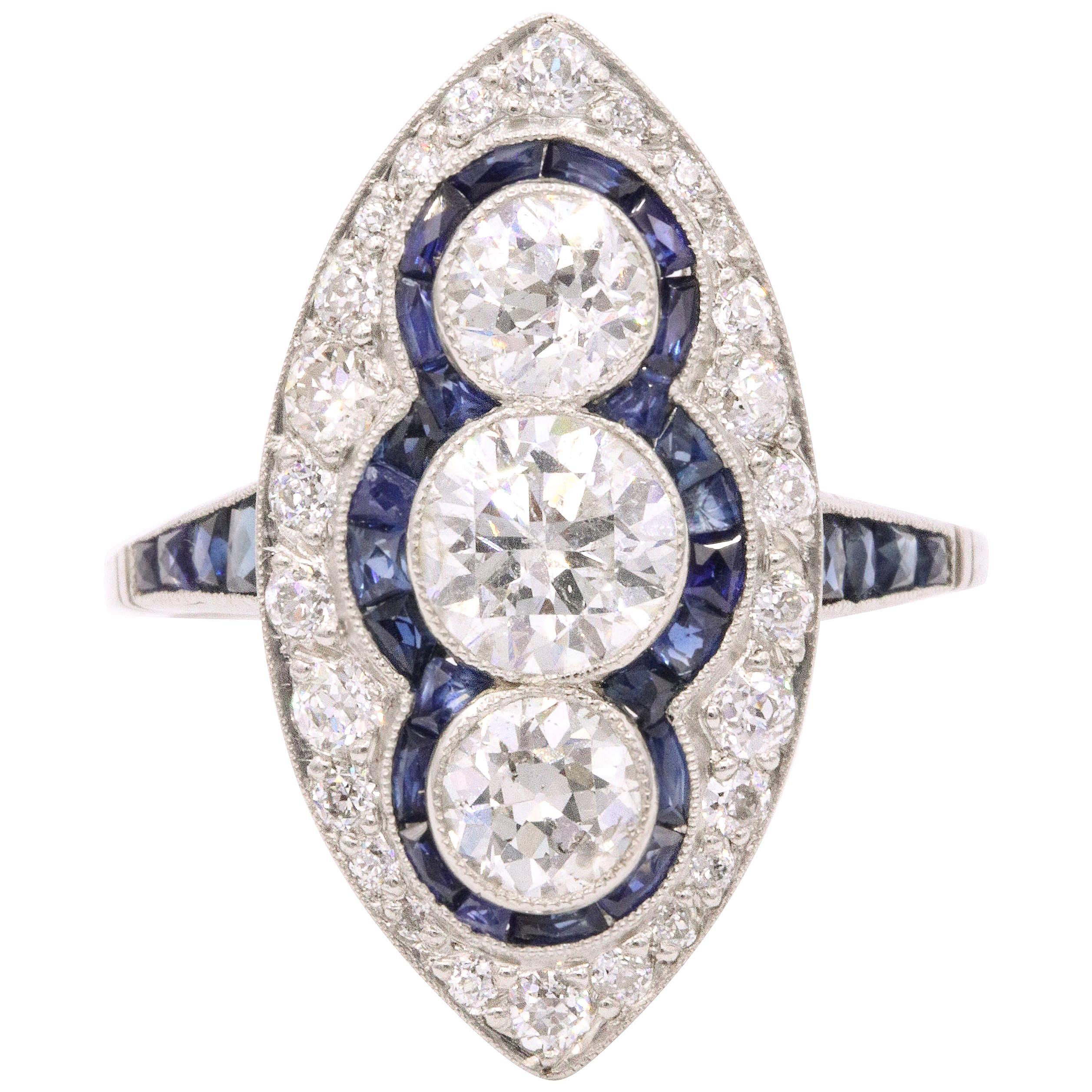 Sapphire Diamond Art Deco Inspired Ring 4 Carat Platinum