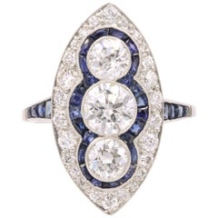 Sapphire Diamond Art Deco Inspired Ring 4 Carat Platinum